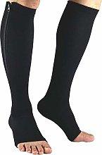 Dr.CURVY 3 Pairs Zipper Open Toe Compression Socks