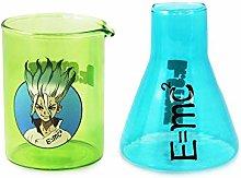 Dr. Stone Senku & E=mc2 Shot Glass set of 2 [BLUE