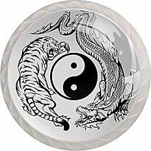 Dragon Fighting with Tiger Around Yin Yang Symbol