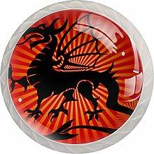 Dragon Red White Crystal Drawer Handles Furniture