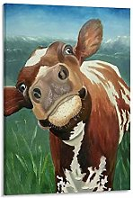 DRAGON VINES Ayrshire Cow Canvas oil painting