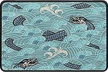 Dragon Wave Doormat Rug Easy to Clean Non Slip