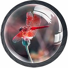 Dragonfly red 4 Pieces Crystal Glass Wardrobe
