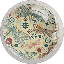 Dragonflyand Flowers Drawer Knobs Pulls Cabinet