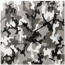 DragonSwordlinsu COOSUN Camouflage Grey Wall Clock