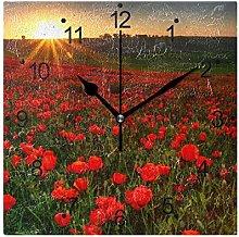 DragonSwordlinsu COOSUN Red Poppies Wall Clock