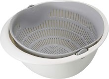 Drain Basket Double Layer Rotary Drainer Vegetable