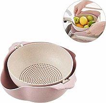 Drain Basket Double Plastic Food Filter Fruit Wash
