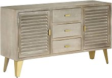Drawer Cabinet Solid Mango Wood Grey with Brass