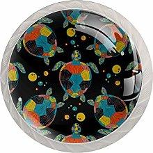 Drawer Knob Pull Handle 4 Pack Round Glass Drawer