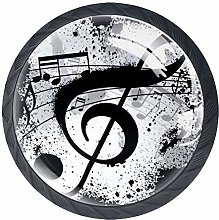Drawer Knobs Black Music Notes Crystal Cabinet