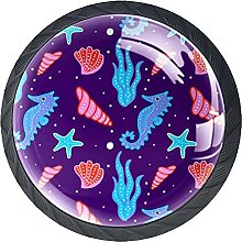 Drawer Knobs Cute Coral Seahorse Pattern Cabinet