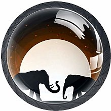 Drawer Knobs Elephant Moon Shadow Matte Black