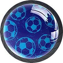 Drawer Knobs Football Soccer Blue Round Kitchen