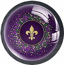 Drawer Knobs Mardi Gras Dotted Color Crystal
