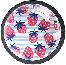 Drawer Knobs Pink Strawberry Blue White Striped