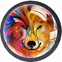 Drawer Knobs Pull Handle Colorful Dog Portrait