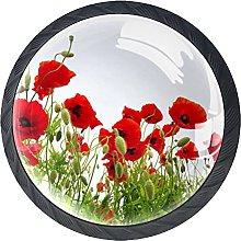 Drawer Knobs Red Flower Spring Cabinet Drawer