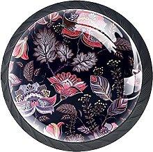 Drawer Knobs Retro Floral Pattern Cabinet Drawer