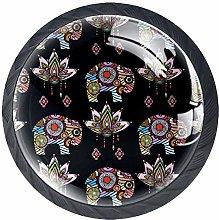 Drawer Knobs Vintage Lotus Ethnic Elephant Crystal