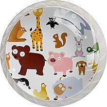 Drawer Pull Handle with Screws Animals DIY Glass