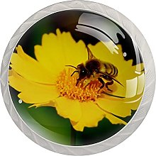 Drawer Pull Handle with Screws Bee Flower DIY