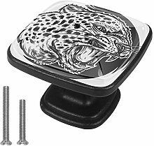 Drawer Pull Handle with Screws Black White Leopard