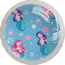 Drawer Pull Handle with Screws Blue Ocean Mermaid