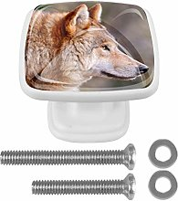 Drawer Pull Handle with Screws Brown Animal Wolf