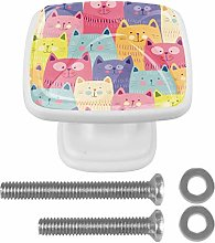 Drawer Pull Handle with Screws Cats Colorful Funny
