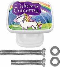 Drawer Pull Handle with Screws Cute Unicorn