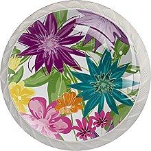 Drawer Pull Handle with Screws Floral Leaves