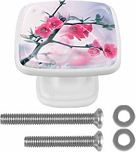 Drawer Pull Handle with Screws Pink Flower Branch