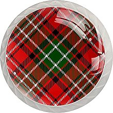 Drawer Pull Handle with Screws Red Green Plaid DIY