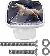Drawer Pull Handle with Screws Running White Horse