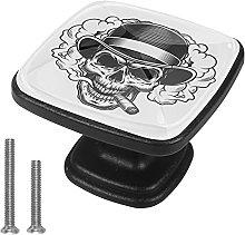 Drawer Pull Handle with Screws Skull Black White