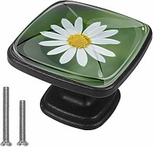 Drawer Pull Handle with Screws Small White Flowers