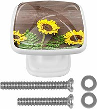 Drawer Pull Handle with Screws Sunflowers Brown