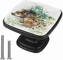 Drawer Pull Handle with Screws Watercolor Painting