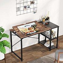 Drawing Desk with Storage Shelves, Adjustable