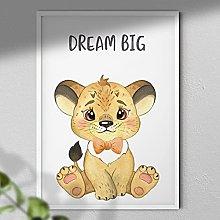 Dream Big - Lion Print | Nursery Art Wall | Kids