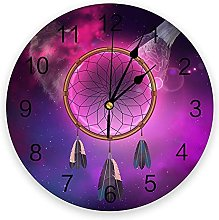 Dream Catcher Wolf Eagle Purple 3D Wall Clock