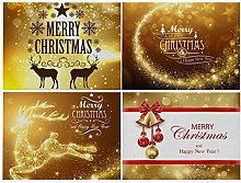 Dreamdge 4Pcs Place Mats Gold Christmas Theme Deer