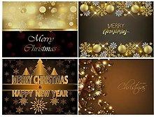 Dreamdge 4Pcs Place Mats Gold Merry Christmas &