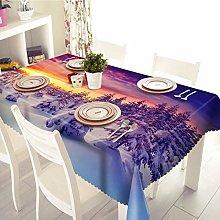 Dreamdge Linen Tablecloth Purple Forest Snow,