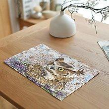 Dreamdge Placemats 4Pcs Brown Owl, 32x45cm Cotton