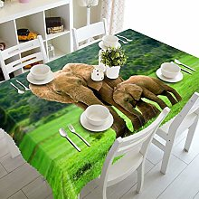 Dreamdge Tablecloths Brown Green Elephant Mother