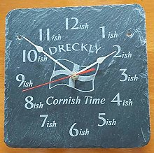 Dreckly Slate Clock - Etched in Cornwall Flag