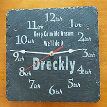 Dreckly Slate Clock - Etched in Cornwall Keep Calm