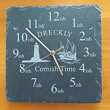 Dreckly Slate Clock - Etched in Cornwall